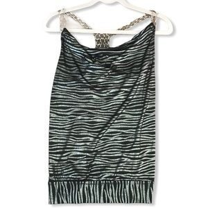 Black & Silver Zebra Print Cowl Sleeveless Blouse